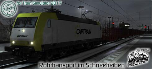 Rohrtransport im Schneetreiben - Vorschaubild